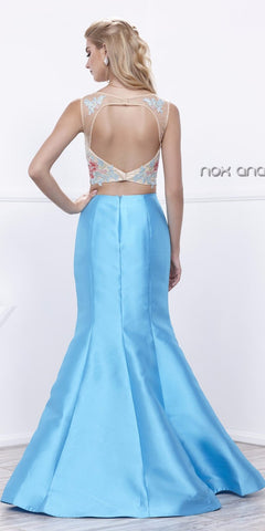 Lace Embroidered Crop Top Mermaid Two-Piece Prom Gown Turquoise