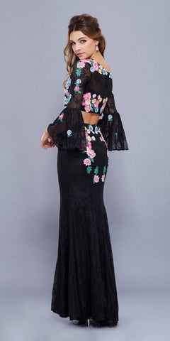 Black Two-Piece Embroidered Lace Pageant Gown with Bell Sleeves