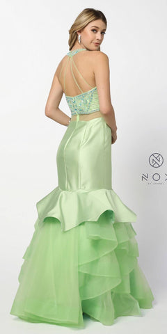 Nox Anabel 8332 Pistachio-Green Mock Two-Piece Embellished Tiered Mermaid Prom Gown