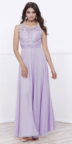 Scoop Neck Applique Bodice Ruched Waist Long Formal Dress Lilac