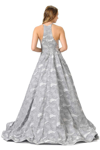 Sheer Cut-Out Bodice Long Prom Dress with Pockets Silver