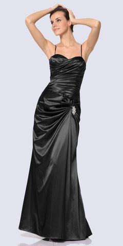Off The Shoulder Satin Ball Gown Black Beaded Belt And Pockets