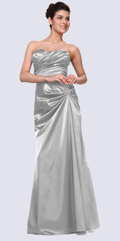 Silver Satin Dress Pleated Bodice Strapless Corset Back