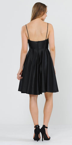 Black Romper Short Dress with Spaghetti Straps