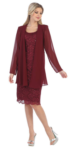 Lace Knee Length Semi Formal Dress with Long Sleeve Jacket Burgundy