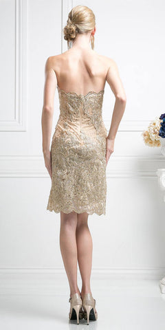 Cinderella Divine 8931 Strapless Floral Applique Above Knee Cocktail Dress Gold