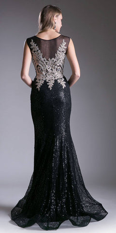 Sequins Mermaid Prom Gown Sleeveless Appliqued Bodice Black/Gold Back View