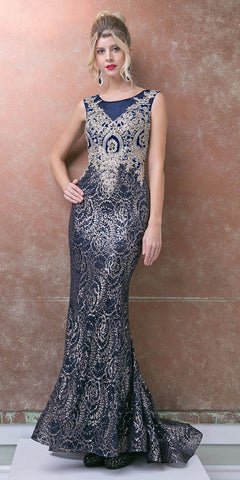 Sequins Mermaid Prom Gown Sleeveless Appliqued Bodice Navy Blue/Gold