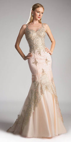 Champagne Embroidered Long Mermaid Prom Dress Lace Up Back