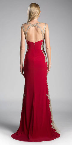 Cinderella Divine 8988 Sweetheart Neck Burgundy-Gold Fit and Flare Evening Gown Cut Out Back View