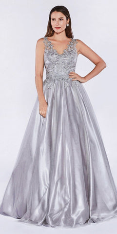 Cinderella Divine 9178 Poofy A-Line Silver Ball Gown Lace Bodice Satin Skirt