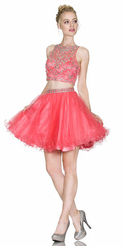 Cinderella Divine 975 Two Piece Illusion Beaded Crop Top Coral Tulle Homecoming Dress
