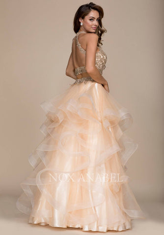 Two Piece Prom Gown Cut Out Back Ruffled Skirt Gold