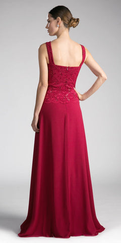 Cinderella Divine A1616 Burgundy A-Line Long Sleeve Lace Bolero Floor Length Formal Dress Back View