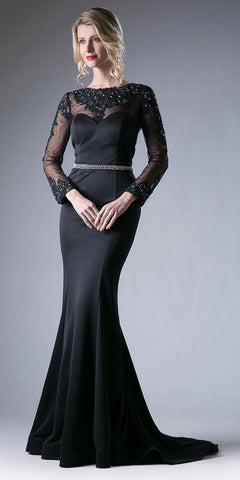 Black Long Formal Dress Appliqued Bodice Long Sleeves