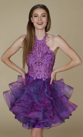 Nox A610 Short Magenta Homecoming Dress Halter Neck Ruffled Skirt