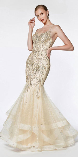 Cinderella Divine AM018 Fitted Embellished Mermaid Gown Champagne Horsehair Trim Criss Cross Back