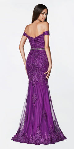 Cinderella Divine AM122 Off the Shoulder Beaded Lace Fitted Gown Purple Rhinestone Belt