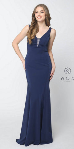 Nox Anabel C001 Navy Blue Floor Length Prom Dress Illusion Open Back