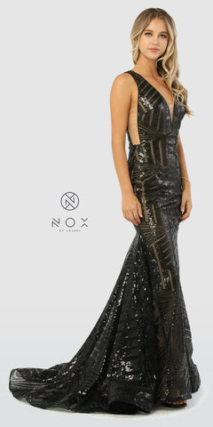 V-Neck Long Sequins Prom Dress V-Neck and Back Black