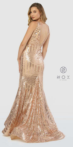 V-Neck Long Sequins Prom Dress V-Neck and Back Rose Gold