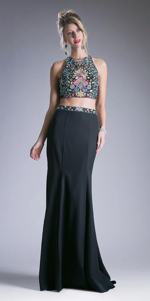 Cinderella Divine C80312 Two Piece Long Floral Embroidered Black Gown Beading Keyhole Back