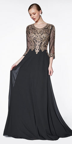 Cinderella Divine Flowy Long A-Line Chiffon Gown Black/Gold With 3/4 Length Sheer Sleeves