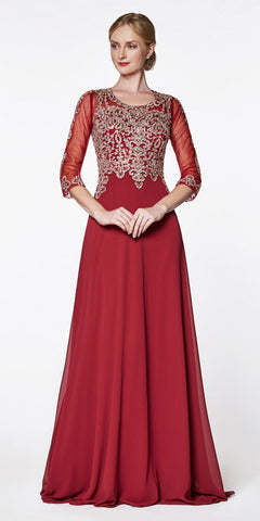 Cinderella Divine Flowy Long A-Line Chiffon Gown Burgundy/Gold With 3/4 Length Sheer Sleeves
