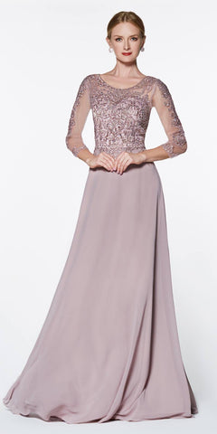 Cinderella Divine Flowy Long A-Line Chiffon Gown Mocha With 3/4 Length Sheer Sleeves