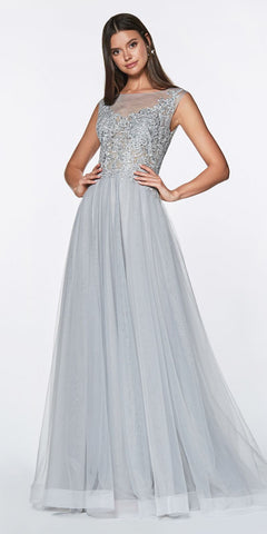Cinderella Divine CD0136 A-Line Beaded Lace Bodice Dress Silver Long Tulle Skirt