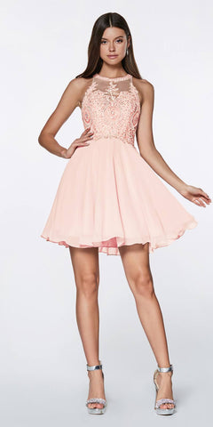 Cinderella Divine CD0141 Short A-Line Dress Blush Chiffon Skirt Beaded Lace Halter Bodice