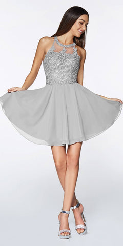 Cinderella Divine CD0141 Short A-Line Dress Silver Chiffon Skirt Beaded Lace Halter Bodice