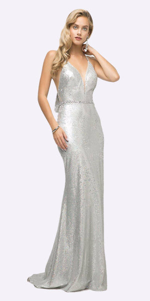 Fitted Sequin Gown Silver Halter Neckline And Open Cowl T-Back