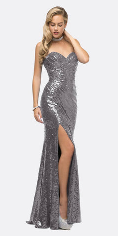 Cinderella Divine CH561 Sequins Strapless Long Prom Dress Sweetheart Neckline Dark Silver