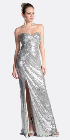 Cinderella Divine CH561 Sequins Strapless Long Prom Dress Sweetheart Neckline Silver