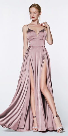 Cinderella Divine CJ526 Floor Length A-Line Satin Gown Dusty Rose Double Slit Sweetheart Neck