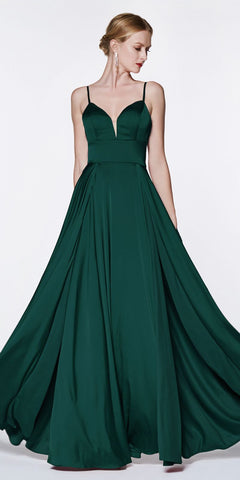 Cinderella Divine CJ526 Floor Length A-Line Satin Gown Emerald Double Slit Sweetheart Neck