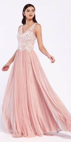 Cinderella Divine CJ528 Long A-Line Blush Formal Gown Mixed Chiffon Tulle Skirt Lace Bodice