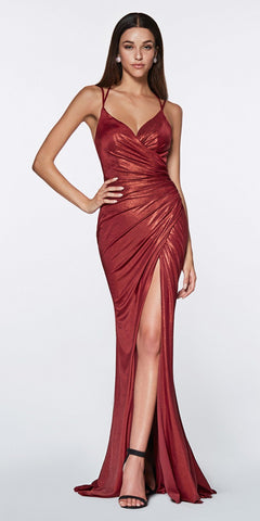 Cinderella Divine CR825 Long Fitted Metallic Gown Burgundy Ruched Side Sexy Leg Slit