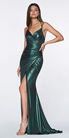 Cinderella Divine CR825 Long Fitted Metallic Gown Teal Ruched Side Sexy Leg Slit