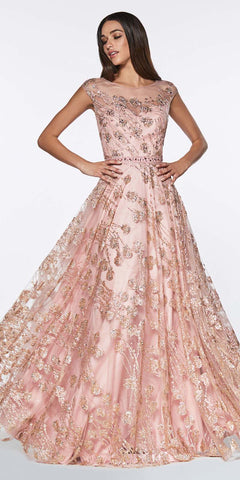 Cinderella Divine CR830 Glitter Floral Ball Gown Rose Gold With Cap Sleeve And Closed Back