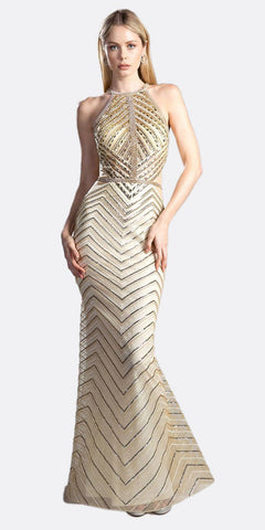 Cinderella Divine CZ0010 Luxurious Floor Length Beaded Sheath Formal Gown Gold