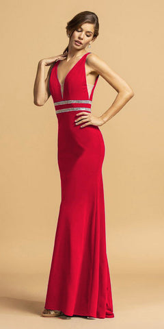 Red V-Neck Embellished Long Prom Dress
