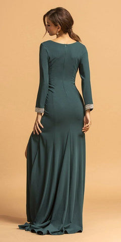 Hunter Green V-Neck Long Formal Dress with Slit