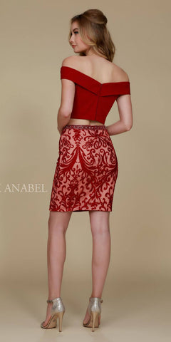 Short 2 Piece Homecoming Dress Burgundy Off the Shoulder Back View