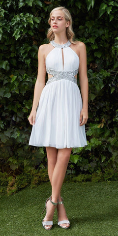 Beaded High Neck Cocktail Dress Off White Side Cut Outs Chiffon
