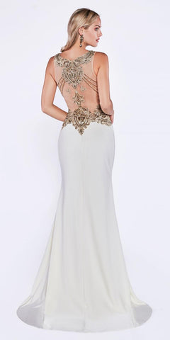 Cinderella Divine J750 Cream Sleeveless V-Neck Evening Gown Form Fit with Slit