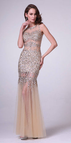 Cinderella Divine JC4199 Gold Beaded Illusion Prom Gown Keyhole Back