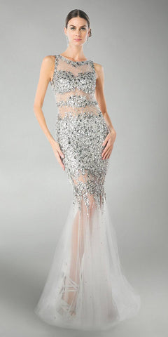 Cinderella Divine JC4199 Silver Beaded Illusion Prom Gown Keyhole Back
