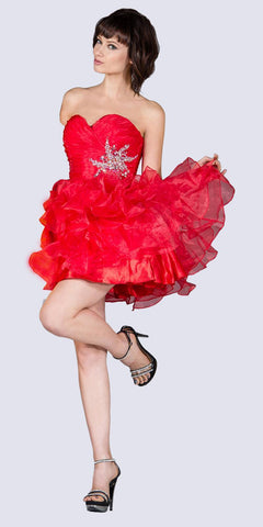 Short A Line Poofy Ball Gown Coral Sweetheart Organza
